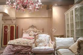 fragment of the interior to luxurious bedroom in rococo style