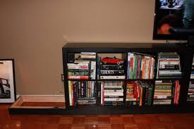 Grey Bookcase Ikea Furniture Black Ikea Expedit Bookcase Filled With Many Books Plus
