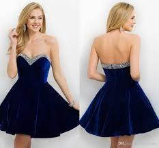 2017 designer royal blue velvet cocktail dress open back