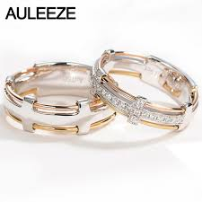 solid gold band auleeze unique line 18k solid gold band real diamond