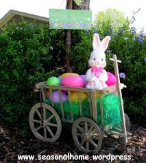outdoor easter decorations outdoor easter decorations with rabbite statue and trees and cart
