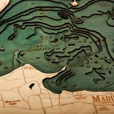 Wisconsin Topographic Map by Lake Mendota Lake Monona Wood Map 3d Nautical Topographic Chart