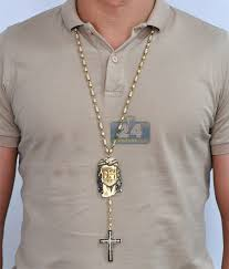 rosary necklace mens diamond jesus rosary necklace 14k yellow gold 24 63 ct