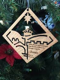 cherry wood town of bethlehem ornament by advantagewoodworks