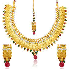 Buy Designer Gold Plated Golden Buy Sukkhi Stylish Gold Plated Temple Jewellery Coin Necklace Set