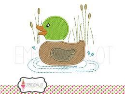 duck machine embroidery design cute mallard duck in pond
