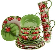 Dining Steel Plate Set Temp Tations Figural Fruit 16 Piece Dinnerware Set Page 1 U2014 Qvc Com