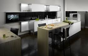 Designer Kitchen Furniture by Black Cabinet Furniture And White Walls Kitchen Galley Designs