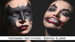 quick and easy halloween make up batman and joker youtube