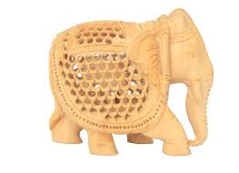 carved wooden elephant showpiece for home decor handcarved product