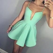a line spaghetti straps short mint green satin homecoming dress