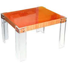 Orange Side Table Lucite Side Or Entrance Table Vintage Hermes Orange Lucite And