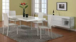 White Lacquer Dining Table by White Lacquered Top Dining Table W Glass Legs U0026 Optional Chairs
