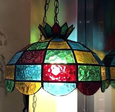 Stained Glass Pendant Light Impressive Stained Glass Hanging Pendant L Foter Within Stained