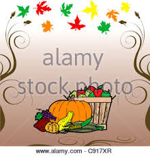 thanksgiving scroll with autumn leaves vector illustration stock