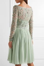 jenny packham embellished tulle and silk georgette dress net a