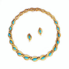 turquoise gold necklace images A french gold and turquoise necklace and earring suite jpg