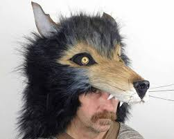 wolf masquerade mask headdress fur