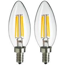 Led Light Bulbs With Candelabra Base by Sunlite Ctc Aq E12 Dim Cl 27k 2pk 4w Equivalent Led Filament