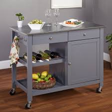 Crosley Kitchen Islands Furnitures Grey Kitchen Island Stainless Steel Top Stainless