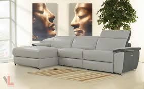 gray reclining sofa aura light grey top grain leather power reclining medium sectional