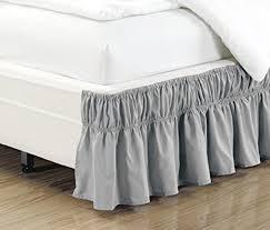 light grey bed skirt amazon com wrap around 15 inch fall light grey ruffled elastic