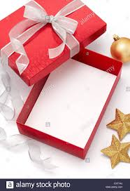 empty gift box with ornaments on white background stock