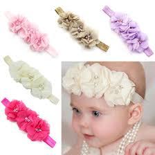flower hair accessories 2016 baby girl elastic headbands chiffon flower hair