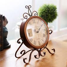 black wrought iron table clock vintage european style wrought iron craft table clock