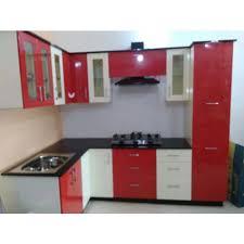 Modular Kitchen Cabinets | red and white modular kitchen cabinets at rs 65000 unit bagmari