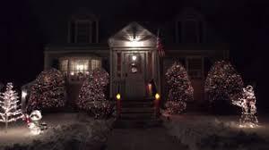 American Flag Christmas Lights 4k Snow Covered Homes Christmas Holiday Decorations Stock