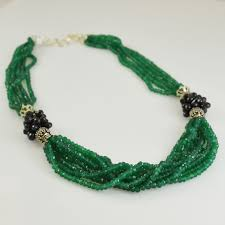 necklace natural stone images Green onyx sterling silver necklace 925 semi precious stone black jpg