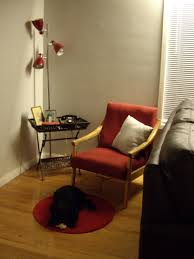 unique red corner three spotlight with decorative cart table set