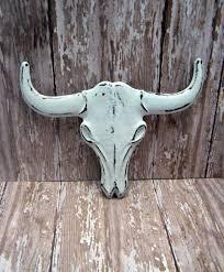 longhorn cast iron cow skull white shabby chic rustic boho