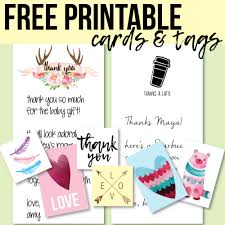 free printable thank you cards and tags for favors and gifts