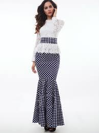 maxi dresses falbala stand collar lace polka dots women s maxi dress tbdress