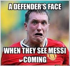 Soccer Memes Facebook - defenders scared of messi meme
