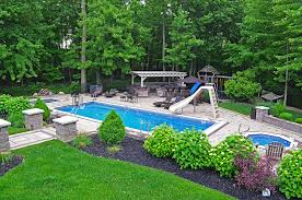 Backyard Pool With Slide In Ground Pool Designs Cleveland