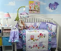 Owls Crib Bedding Soho Lavender Owls Baby Crib Nursery Bedding Set 14 Pcs