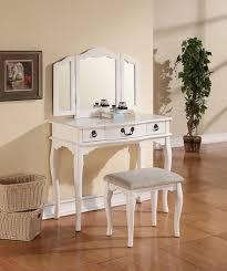 Vanity Table Set For Girls Amazon Com Poundex Bobkona Susana Tri Fold Mirror Vanity Table