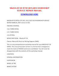 mazda bt 50 bt50 2011 2014 workshop service repair manual by