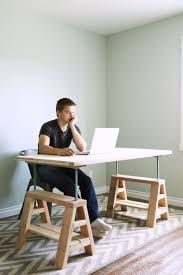 ana white modern indsutrial adjustable sawhorse desk to coffee