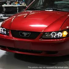 mustang projector headlights ford mustang 1999 2004 smoked dual halo projector headlights