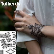 tattrendy black white henna tattoo stickers flash temporary