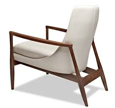 white leather chairs with brown wooden armrest and legs of modern