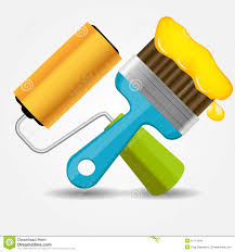 Painting Icon Paint Roll And Brush Icon Vector Illustration Stock Photos Image