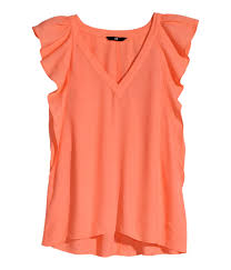 H M Draped Blouse H U0026m Blouse With Butterfly Sleeves In Orange Lyst