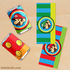 free printable super mario bros mini candy bar wrappers super