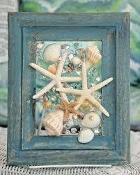 sea glass art with starfish seashell art beach home decor wall
