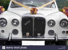 white bentley sedan front grill of wedding car with ribbons white bentley stock photo